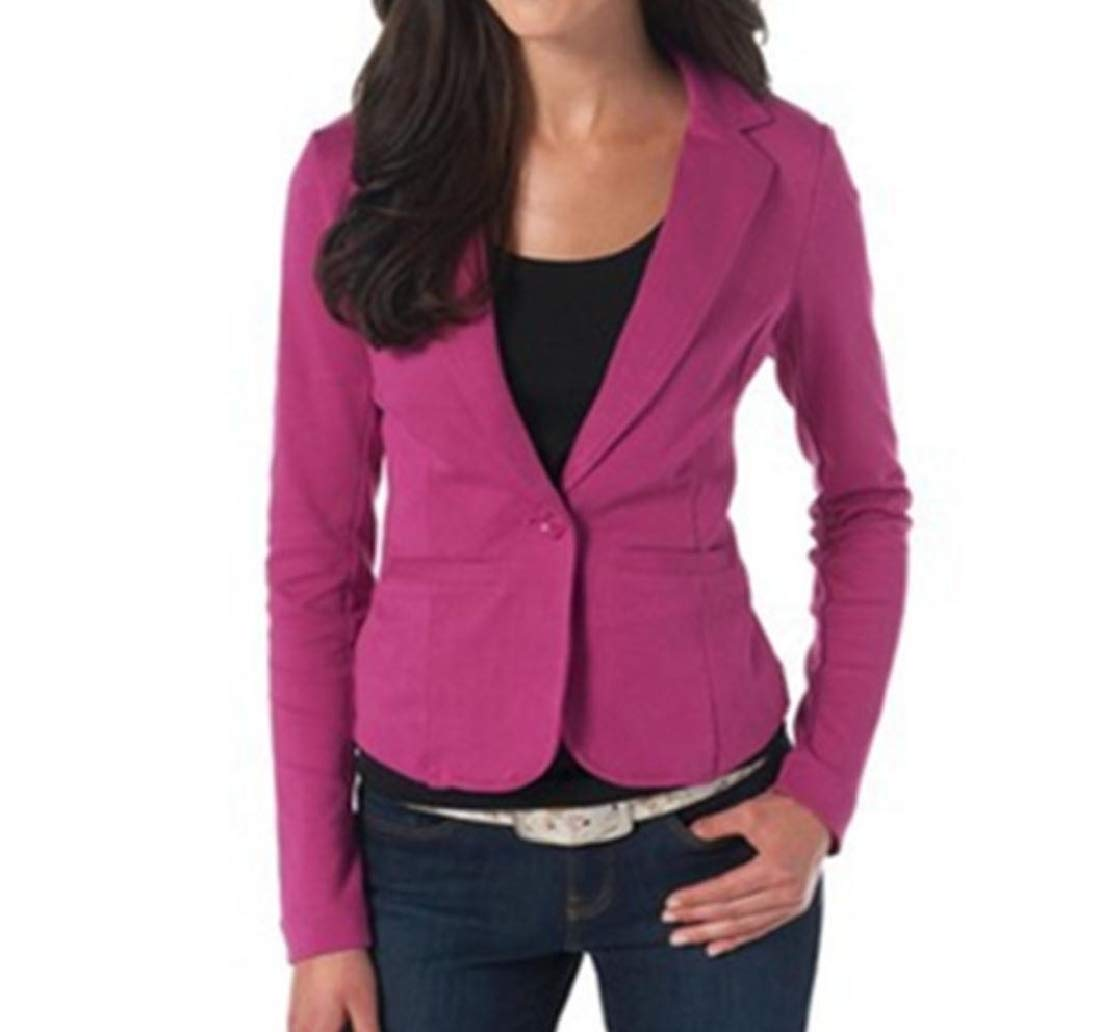 Women 1 Button Office Jacket Coat Slim Business Small Blazer Rose red M