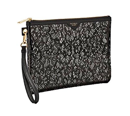 Price comparison product image Victoria's Secret Black Floral Lace Large Beauty Cosmetic Wristlet Bag Zip-Up
