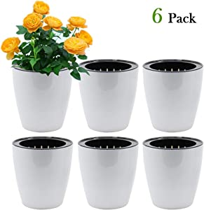SAND MINE Self Watering Planter White Flower Pot (6, XL)