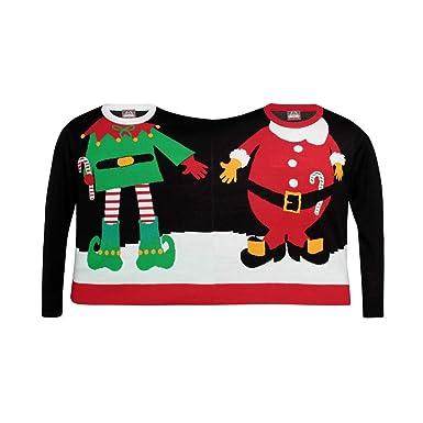 2 Person Christmas Sweater.Christmas Shop Adults Unisex Double Santa Elf Christmas
