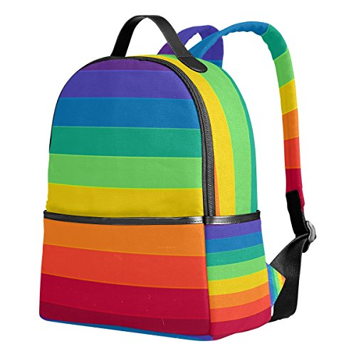 YZGO Striped Rainbow Children School Backpacks for Boys Girls Youth Canvas Bookbags Travel Laptop Bags]()