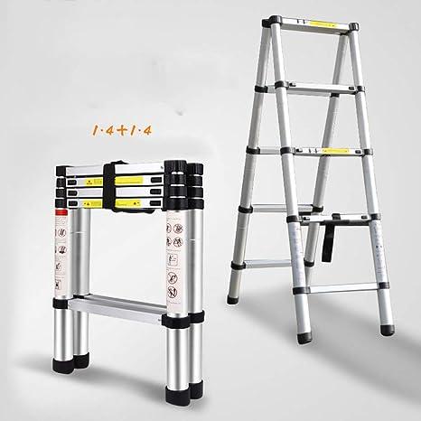 QAS Escalera telescópica de aleación de Aluminio, Escalera doméstica, Escalera elevadora portátil Plegable, Escalera Gruesa multifunción, Adecuada para la instalación de Edificios Null: Amazon.es: Deportes y aire libre