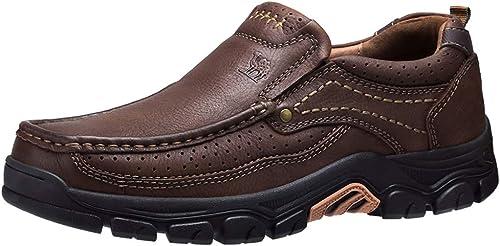 CAMEL CROWN Slipper Herren Mokassins Leder Weich Slip On Loafer mit Gummisohle Schuhe für Herren Schwarz Braun 41 47