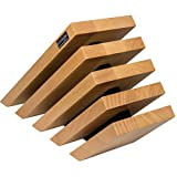 Artelegno Magnetic Knife Block Solid Beech Wood 5 Panel, Luxurious Italian Venezia Collection by Master Craftsmen Displays up to 10 High-End Knives Elegantly, Eco-friendly, Natural with Black Accents