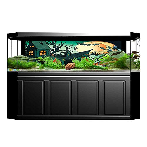 UHOO2018 Aquarium Sticker Haunted Medieval House Theme Cartoon Bats in Twilight Gothic Fiction Spooky Art Orange Fish Tank Backdrop Static Cling ()