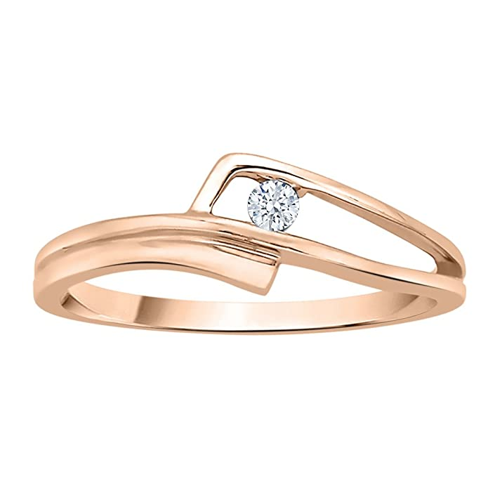 Diamond Wedding Band in 14K Pink Gold 1//20 cttw, G-H,I2-I3 Size-9