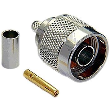 2 Pack tipo N conector macho para RG58/RG142/RG223/RG400/lmr195