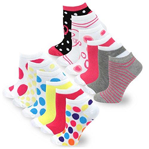 - TeeHee Women's Fashion No Show/Low cut Fun Socks 12 Pairs Packs (Heart Dots Stripes-Rainbow Hearts)
