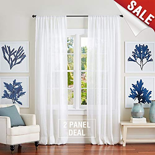 jinchan Sheer Window Curtains for Bedroom Linen Textured White Curtain Panels for Living Room 95 inch Length
