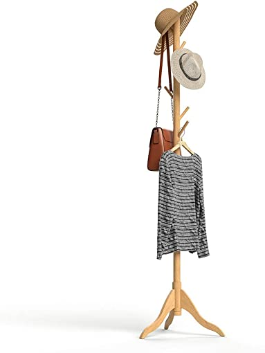 UVII Coat Rack Stand, Sturdy Wood Coat Tree with 8 Hooks, 3 Adjustable Sizes Free Standing Coat Hanger for Cloths, Jackets, Scarves, Bags in Home, Office, Entryway and Hallway Golden Oak