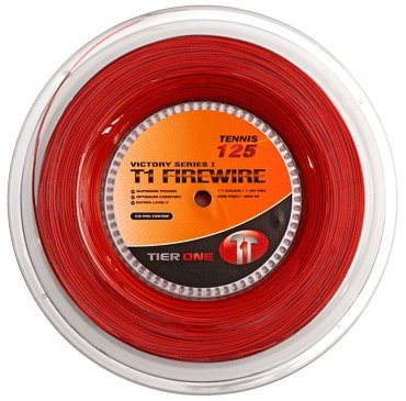 Tier One T1-Firewire Co-polyester Tennis String (Red, 17 gauge (1.25 mm) - 200 m reel)