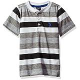 U.S. Polo Assn. Boys' Big Boys' Printed Slub Henley T-Shirt, Medium Grey, 14/16