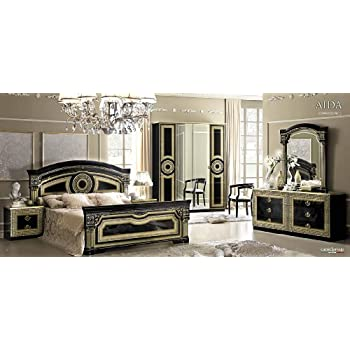 queen size bedroom sets. ESF Aida Traditional Black Veneer With Gold Accents Classic Italian Queen  Size Bedroom Set Amazon com Barocco Ivory with
