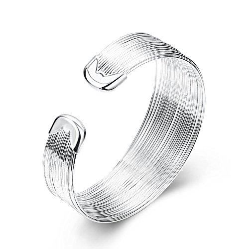 SUNGULF Popular Jewelry SilverPlated Mesh Cuff Bracelets Open End Bangle Bracelets for Women (Multi-line 18mm Width)