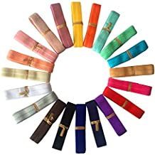 "LaRibbons 5/8"" Fold Over Elastic Stretch Foldover FOE Elastics for Hair Ties Headbands ( 20 Colors by 1 Yard )"
