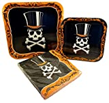 Happy Halloween Square Gothic Skeleton Paper Plates and Napkins Set (Skeleton Head with Top Hat)
