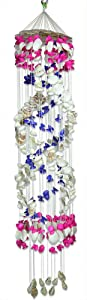 BANBERRY DESIGNS Sea Shell Wind Chime Mobile Colorful Spiral Shaped Nautical Beach Decor - 46 Inch High
