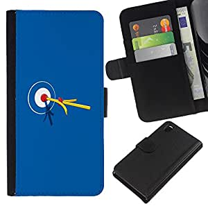A-type (Bullseye Bulls Eye Partido Target) Colorida Impresión Funda Cuero Monedero Caja Bolsa Cubierta Caja Piel Card Slots Para Sony Xperia Z3 D6603