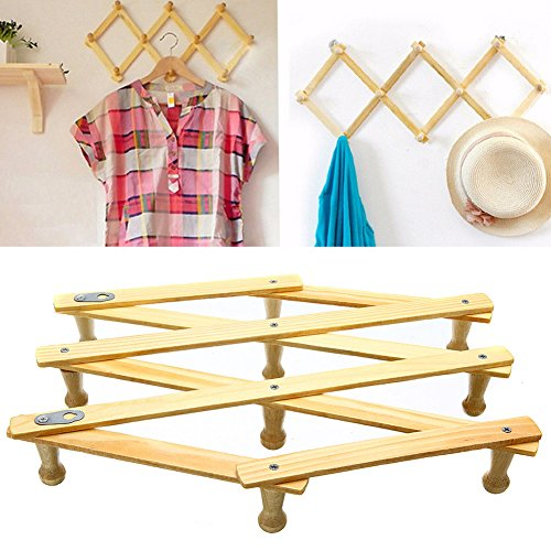 10 Head Wooden Expanding Clothes Hanger Expandable Coat Rack