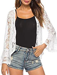 Women's Lace Bell Sleeve Cardigan Open Front Flare Shrug Jacket
