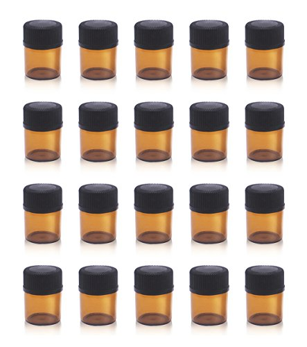 1/4 Dram Amber Mini Glass Bottle Packed Small vials Sample Vial with Orifice Reducers and Black Caps (100-Pack)