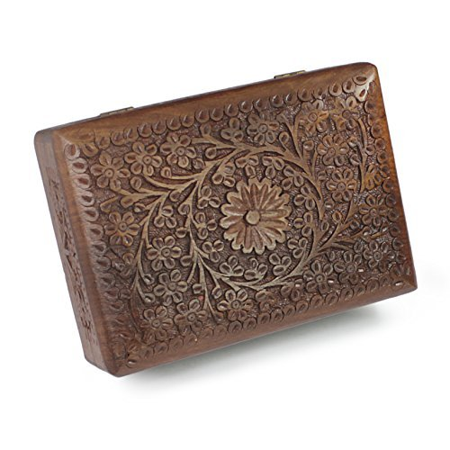 Beautiful Christmas Holiday Gift Ideas For Women Decorative Jewelry Box Wooden Storage Keepsake Watch Box Floral Brass Inlay 7 5 Inches Unique Birthday Gift Ideas For Her Girls -