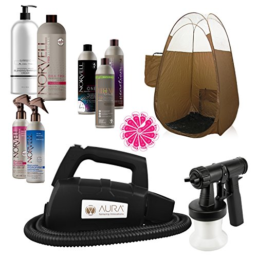 pray Tanning Machine System with Norvell Airbrush Tan Solution Sunless Pro Kit Bundle and Bronze Pop Up Tent (Sandal Nut)