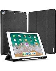 حافظة جلدية من Aookay PU لجهاز iPad Air (الجيل الثالث) 10.5 بوصة 2019 / iPad Pro 10.5 2017 غطاء ذكي حامل مغناطيسي لـ ipad Pro 10.5 بوصة 2017 مع حامل أقلام (pro 10.5، أسود)