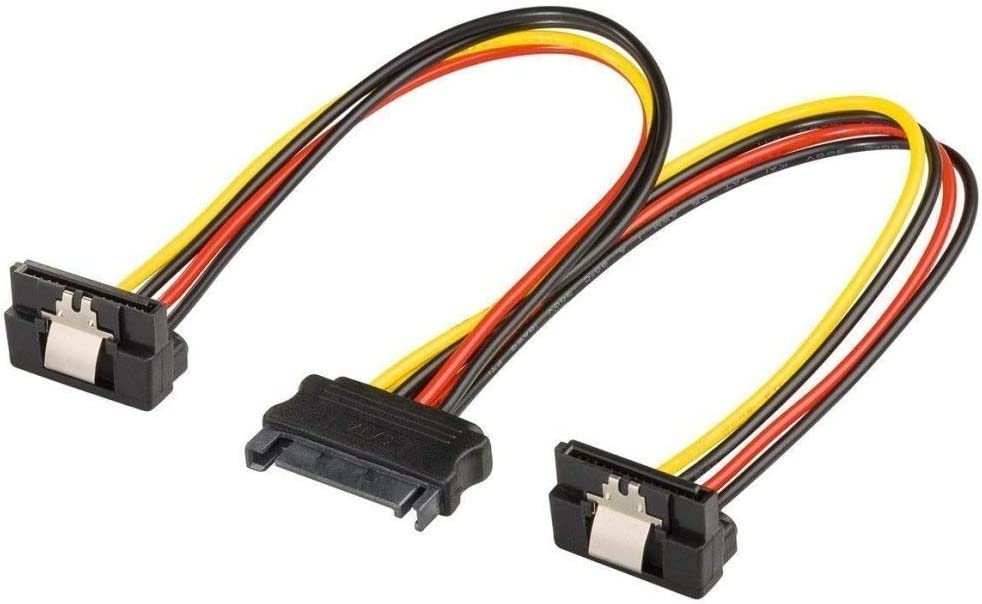 Premium Cord Divisor de Corriente para Disco Duro Conectores SATA Macho a 2 Conectores SATA Hembra, acodado 90/°