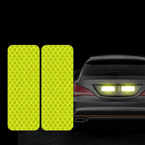 FOLCONROAD 10Pcs Car Reflective Warning Strip Stickers Safety Warning Light Reflector Protective Sticker [Fluorescent Green-Rectangle]
