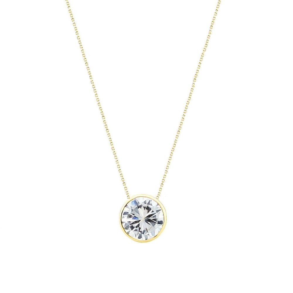 14k Yellow Gold Handmade Necklace With 7mm Round Cubic Zirconia Solitaire