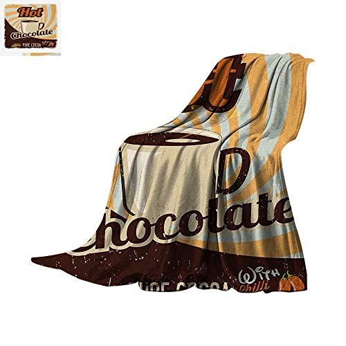 (Retro Lightweight Blanket Old Hot Chocolate Commercial in Funky Shaded Color with Cocoa Beans and Mug Print Velvet Plush Throw Blanket 50