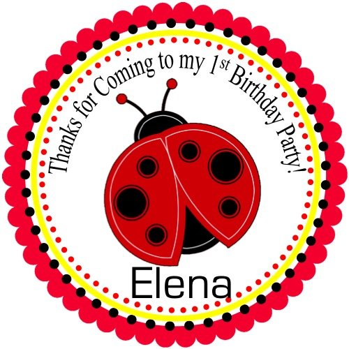 "40 Round Labels 2"" Personalized Stickers, Little Lady Bug Custom Hangtags, Party Favors Labels, Cupcake Toppers, Gift Tags-Choice Of Size"
