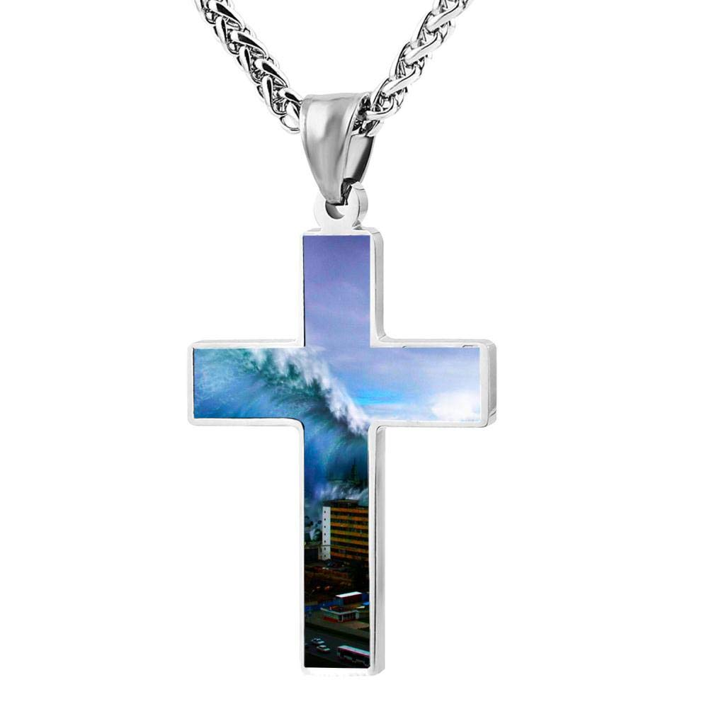 Brniogn Cross Necklace,Large Flood Scene Print Pattern Prayer Christ Necklace Pendant Custom 24 Inch