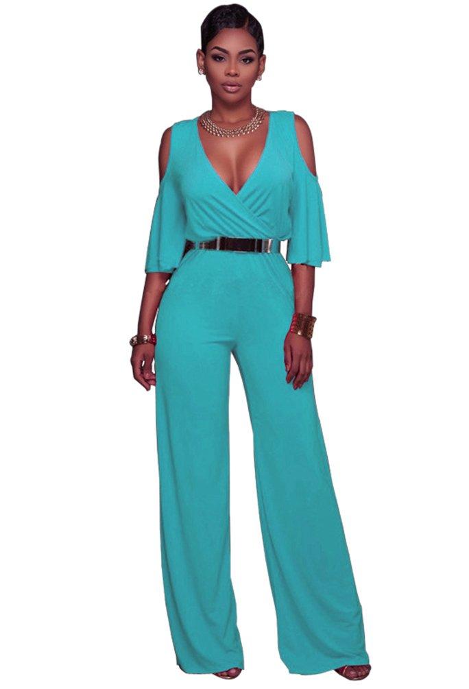 Dooxi Femmes Manche Longue Partie de Soirée Combinaisons Jumpsuit Col V Taille Haute Large Jambe Combinaison Pantalon