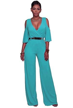 481d38f56655d Dooxi Femmes Manche Longue Partie de Soirée Combinaisons Jumpsuit Col V  Taille Haute Large Jambe Combinaison