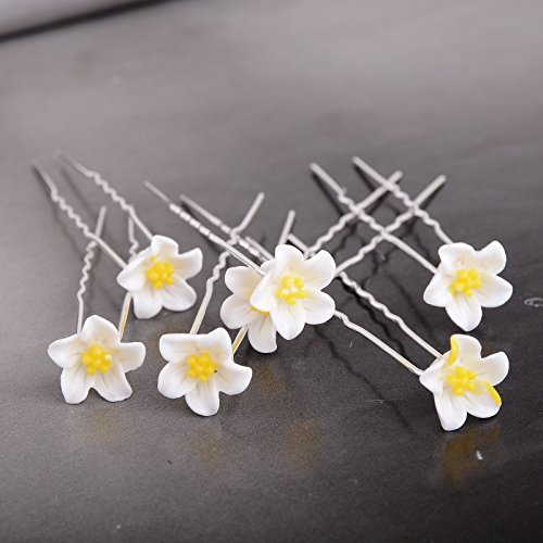 Yantu Womens Flower Bridal Wedding Hair Pin with Crystal (Pack of 20) (lily)