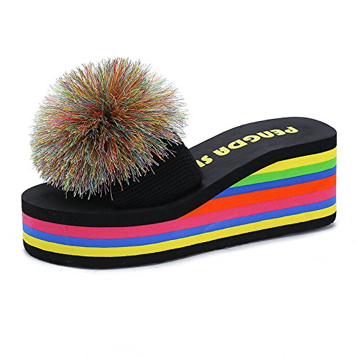 Summer 5014 Antiskid Slippers Fashion Flowers WHLShoes slippers And Handmade women black Leisure Flowers PIABFqR