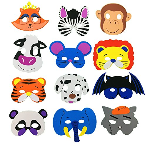 [Fun Little Toys 12ps Assorted Foam Animal Zoo Masks Birthday, Education] (Little Zebra Girls Costumes)