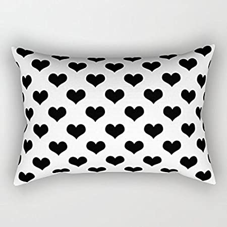 Amazon Com Wild Bramble 20 X 12 Black Hearts On White Background Zippered Pillow Cases Cushion Covers Home Kitchen