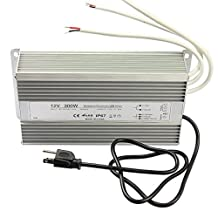 Low Voltage Waterproof Led Power Supply Driver Transformer 300watts with Us Plug Aluminum Alloy LED Driver for 12v Outdoor Led Lighting Product,AC90-145V Input to 12 Volt Output
