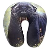 CRSJBB219 Snarling Black Panther (Leopard) Wildlife Animal Comfortable Travel Pillow,Neck Pillow,a Memory Foam Pillow That Provides Relief and Support for Travel,Home, Neck Pain