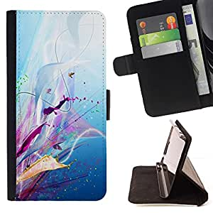 Momo Phone Case / Flip Funda de Cuero Case Cover - Patrón floral de la lila Splash goteo Resumen - Samsung Galaxy J1 J100