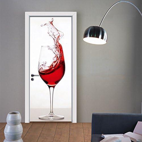 Pegatinas Puertas Adhesivo Interiores 3D Bar Copa de Vino Etiqueta de la Puerta de Vinilo Autoadhesivo murales Impermeables Dormitorio decoración del hogar Cartel refrigerador 30.3x78.7 Pulgadas