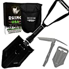 Rhino USA Folding Survival Shovel - Best Entrenching Camping Tool Available, Carbon Steel