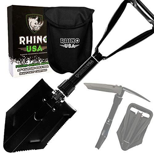 Rhino USA Folding Survival Shovel w Pick – Heavy Duty Carbon Steel Military Style Entrenching Tool for Off Road, Camping, Gardening, Beach, Digging Dirt, Sand, Mud Snow – Guaranteed for Life