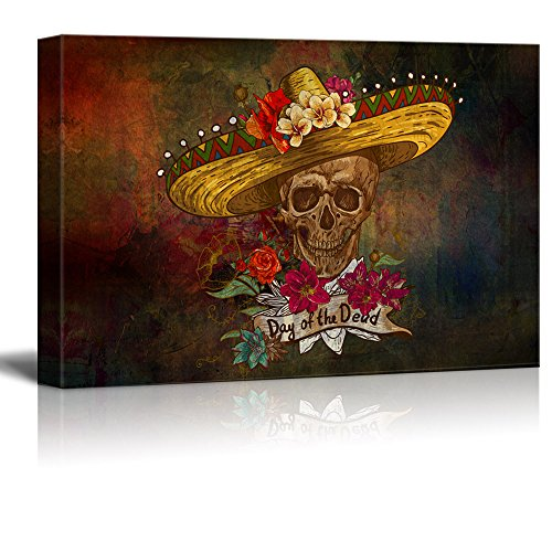 wall26 - Canvas Print Wall Art - Day of The Dead (Dia De Los Muertos) Themed Skull with a Hat and Flowers - Gallery Wrap Modern Home Decor   Ready to Hang - 16x24 inches ()