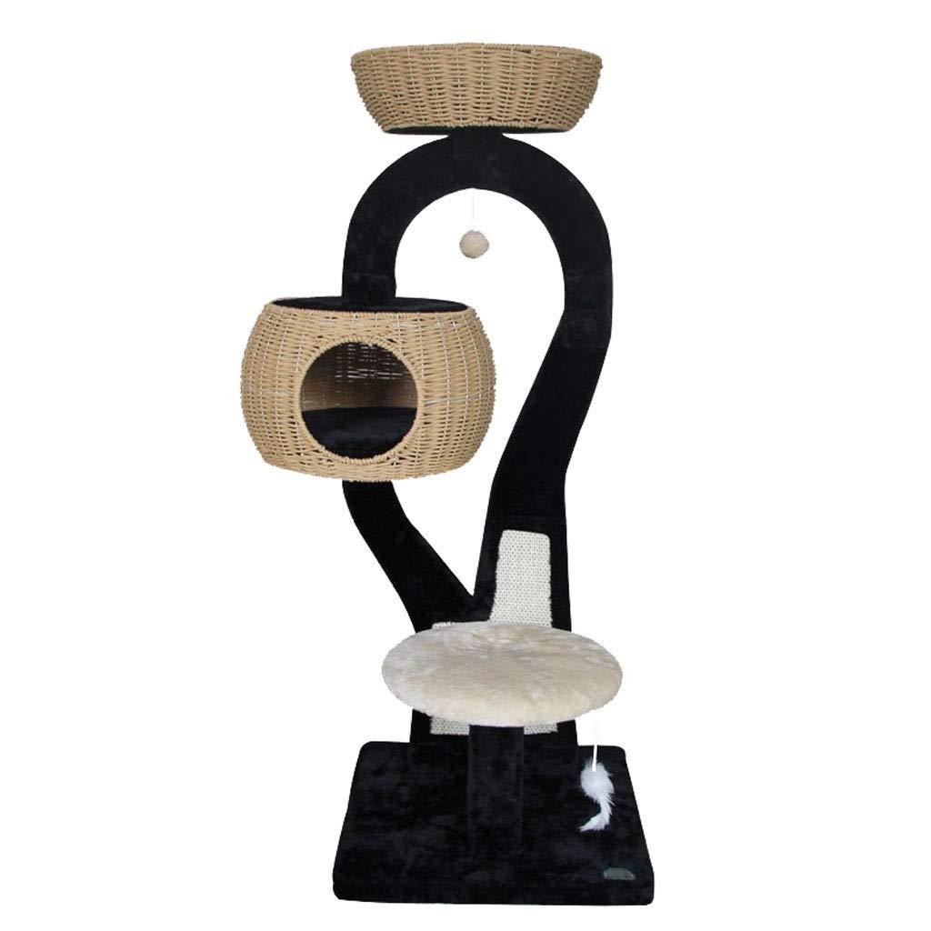 TT Weave Sisal Cat Tree,Small Cat Climbing Frame,Tree Hole Cat Nest,Detachable Cat Climbing Frame(48.5  126cm,Black)