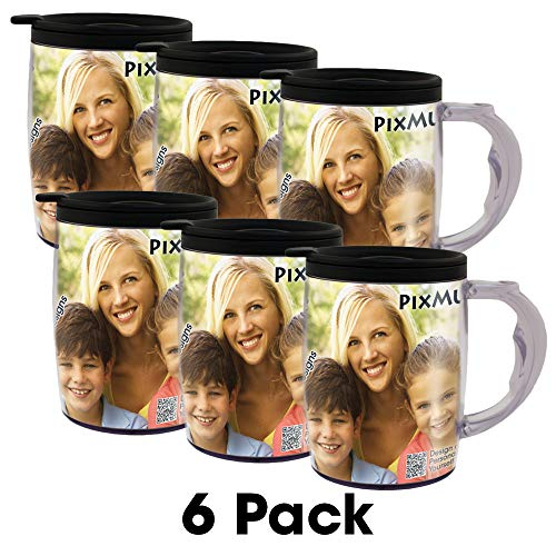 PixMug with Handle - 6 Pack - Photo Mug - The Mug That's A Picture Frame - DIY - Insert Your own Photos or Designs - 15 oz with Spill Proof top ()