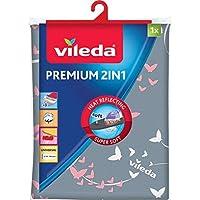 Vileda Premium 2 en 1 - Funda de planchar, tres capas, tamaño universal, suave, color gris y blanco, medidas: 130 x 45 cm